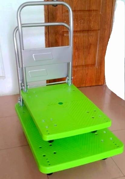 300kg Apple Green Platform Handcart Noiseless Folding Trolley