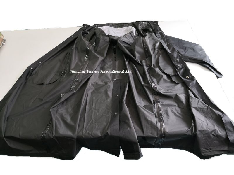 Black Breathable&Waterproof Long PVC Raincoat with Hood