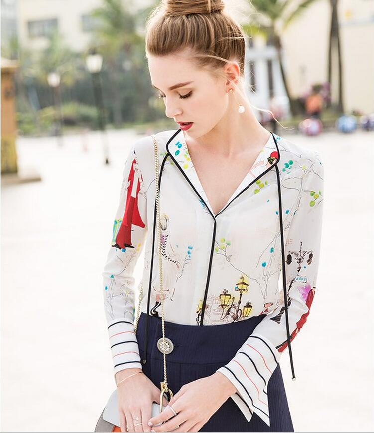 Spring Printed Charming Pattern V-Neck Women's Shirt