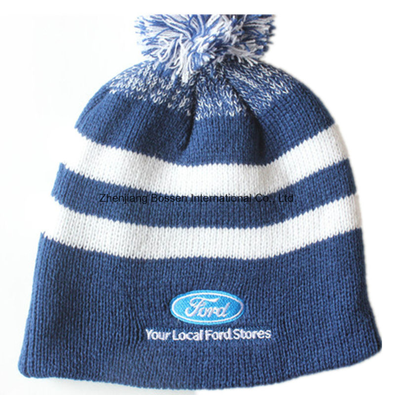 Beanie Factory Supply Cheap Promotional Embroidered Acrylic Winter Ski Sports Knit Slouch Fold Customized Beanie Hat
