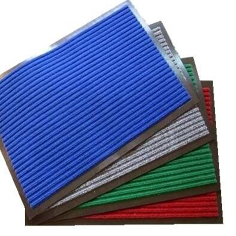Ribbed PVC Door Mat for Commercial Use (ribbed, velour+PVC backing)