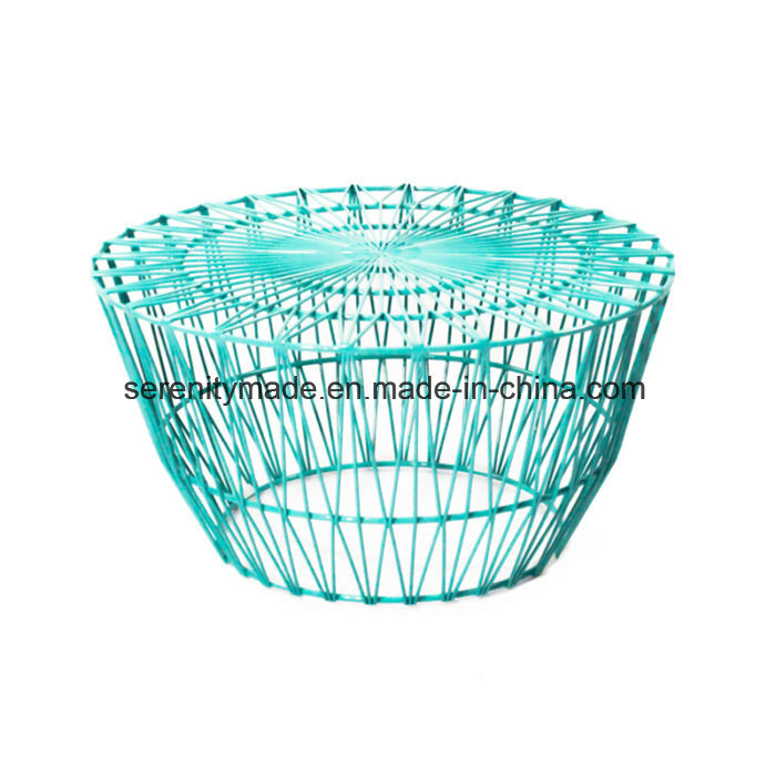 Powder-Coated Baby Blue Stackable Metal Wire Cafe Dining Chairs