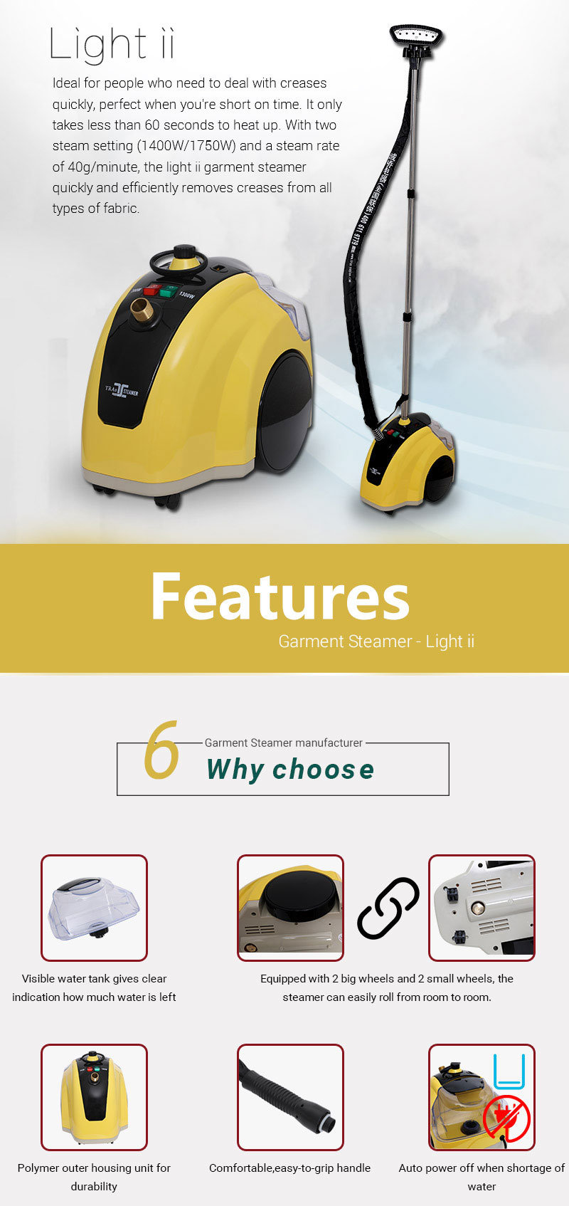 Clothes Standing Steam Iron Professional Portable Garment Steamer