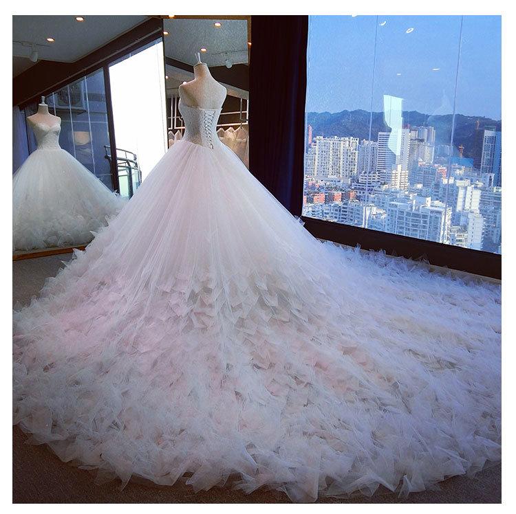 2017 Crystal Organza Bridal Mermaid Wedding Dresses 6833