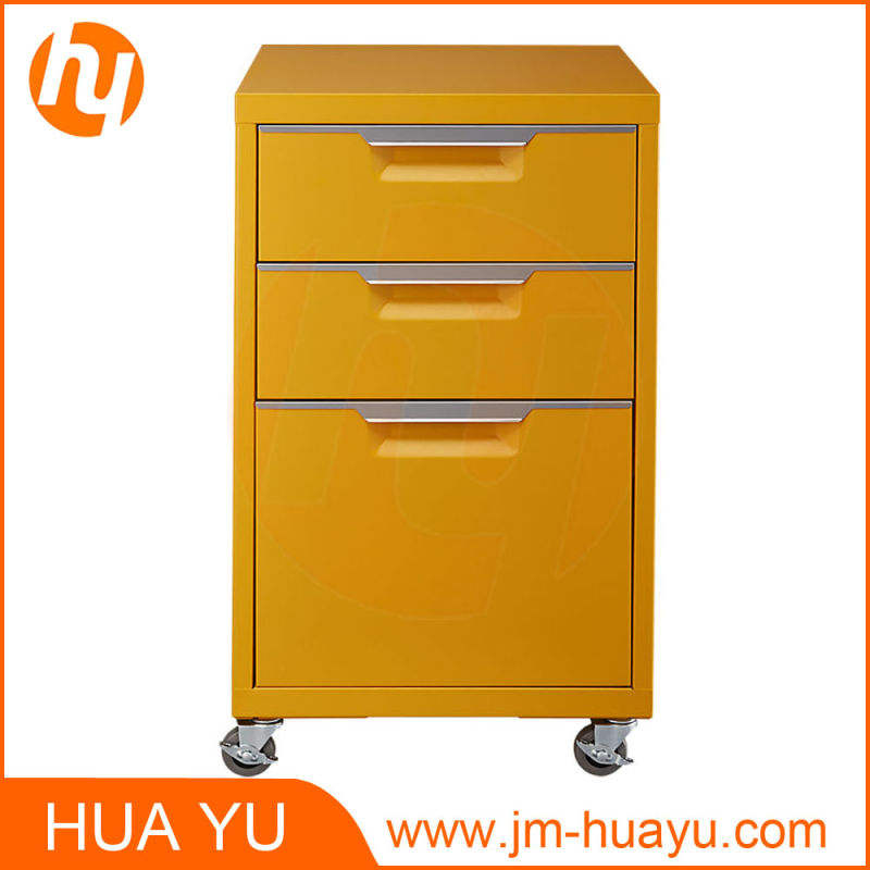 Office Furniture 3 Drawers Movable Metal Mint Filing Cabinet