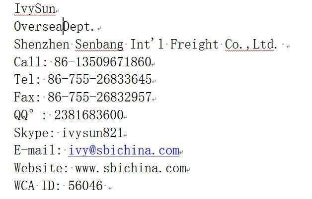 Best Chinese Shipping Forwarder -- Sbi