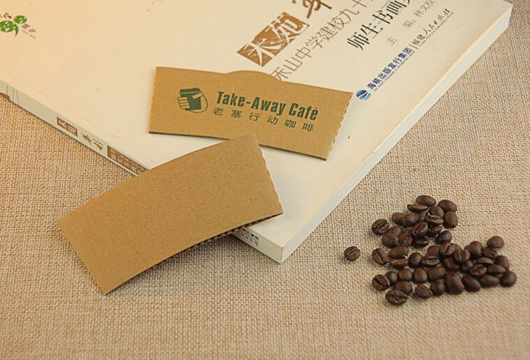 Brown Color Paper Sleeve for 8oz Coffee Single Wall Paper Cup