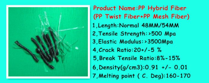PP Polypropylene Hybrid Blend Macrofiber Twisted Bundle Fiber 54mm