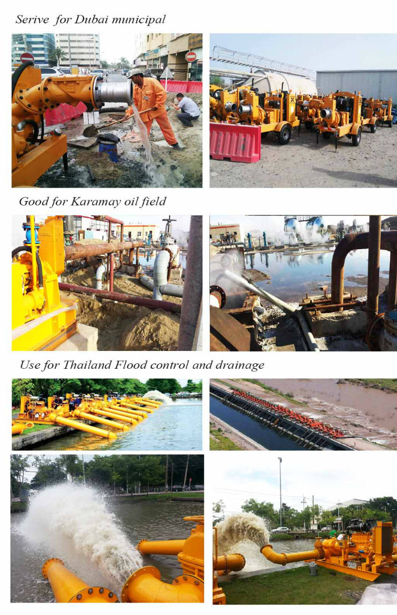 Mobile Working Irrigation Dewatering Water Pump with Trailer