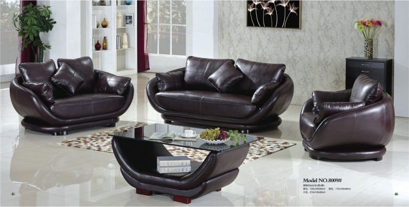 Modern Design Round Genuine Leather Sofa (8009)