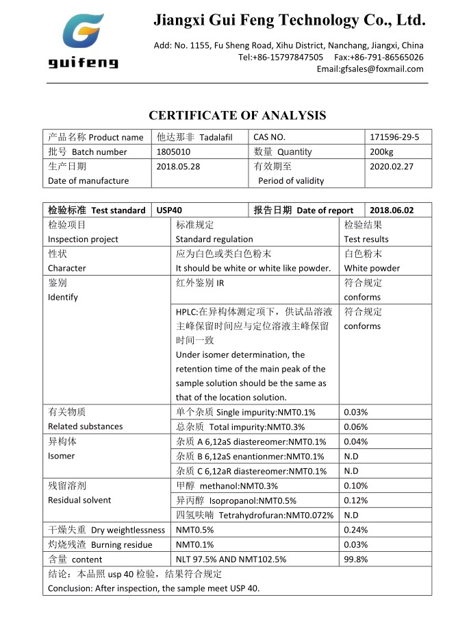 Pde5 Inhibitor Tadalafil (tadanafil) for Anti-ED High Purity Sex Powder Tadalafiles CAS 171596-29-5