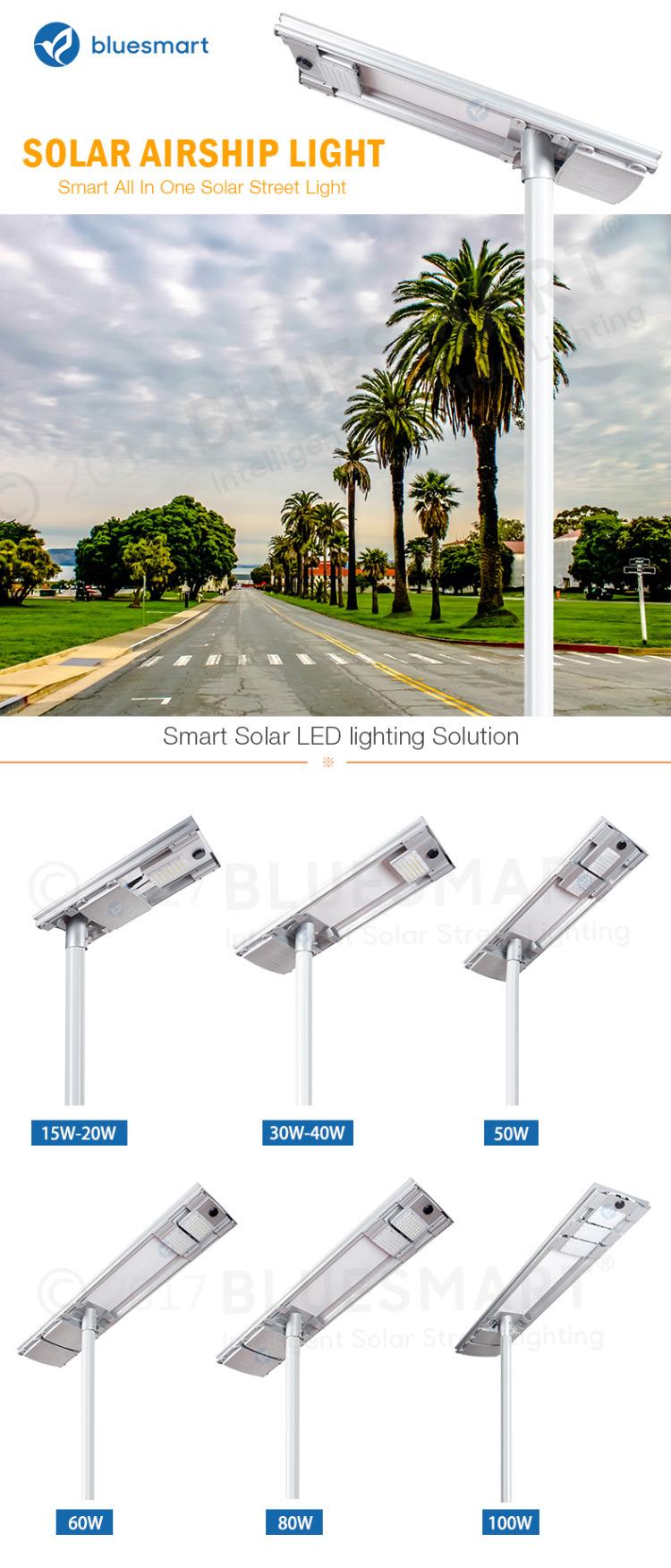15W/20W/30W/40W/50W/60W/80W/100W Outdoor Integrated/All-in-One Solar Products Motion Sensor LED Street Garden Light