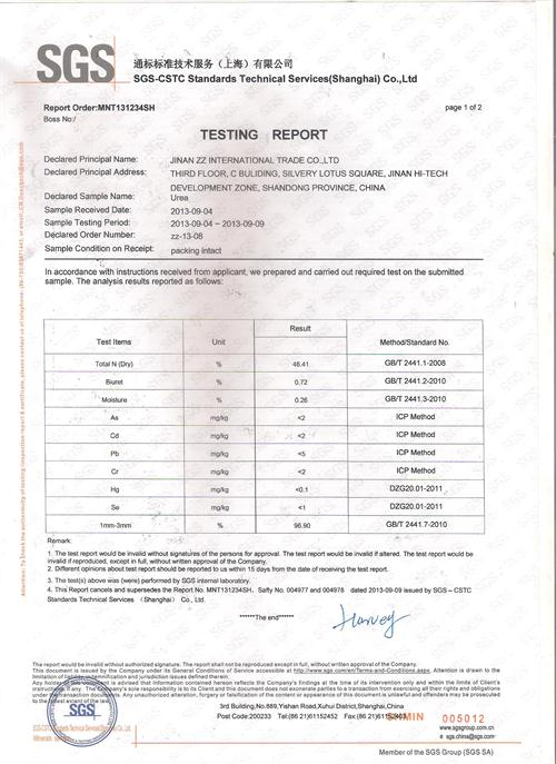 Prilled Urea (N 46 % min) with SGS Test Report