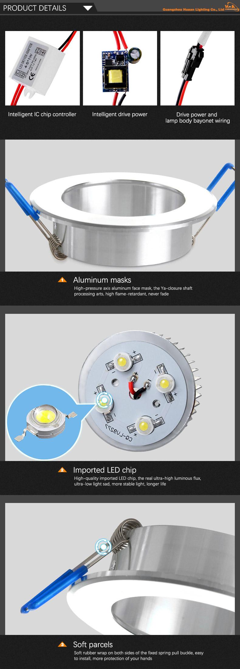 Wholesale Energy Saving 3W 5W LED Spot Ceiling Down Light