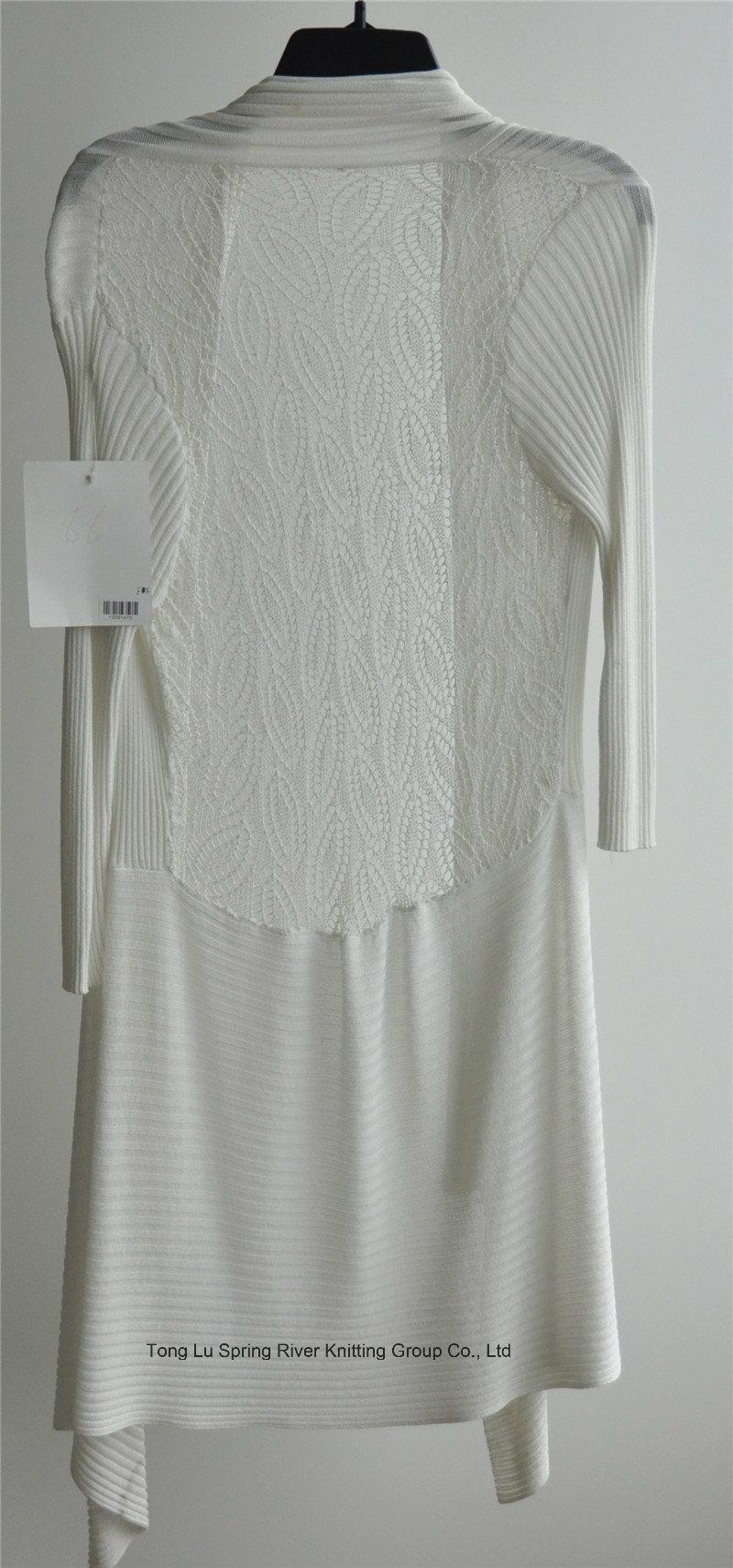 Long Sleeve Longline Opean Patterned Knitwear Cardigan for Ladies