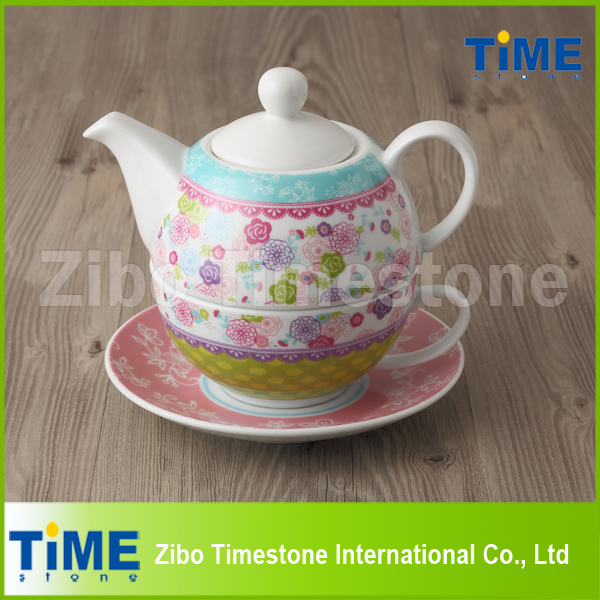 Porcelain Tea for One Set with Decal