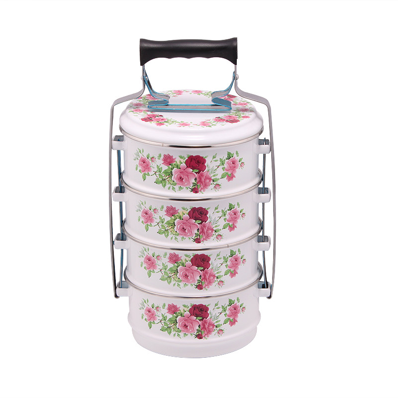 (LONGFEI) Home Use Malaysian Style 4 Layers Enamel Decal Food Carrier