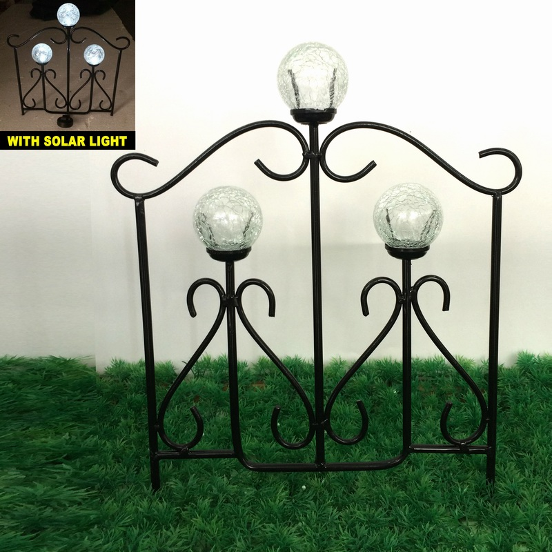 Glass Ball Solar Light Linellae Metal Garden Fence Craft