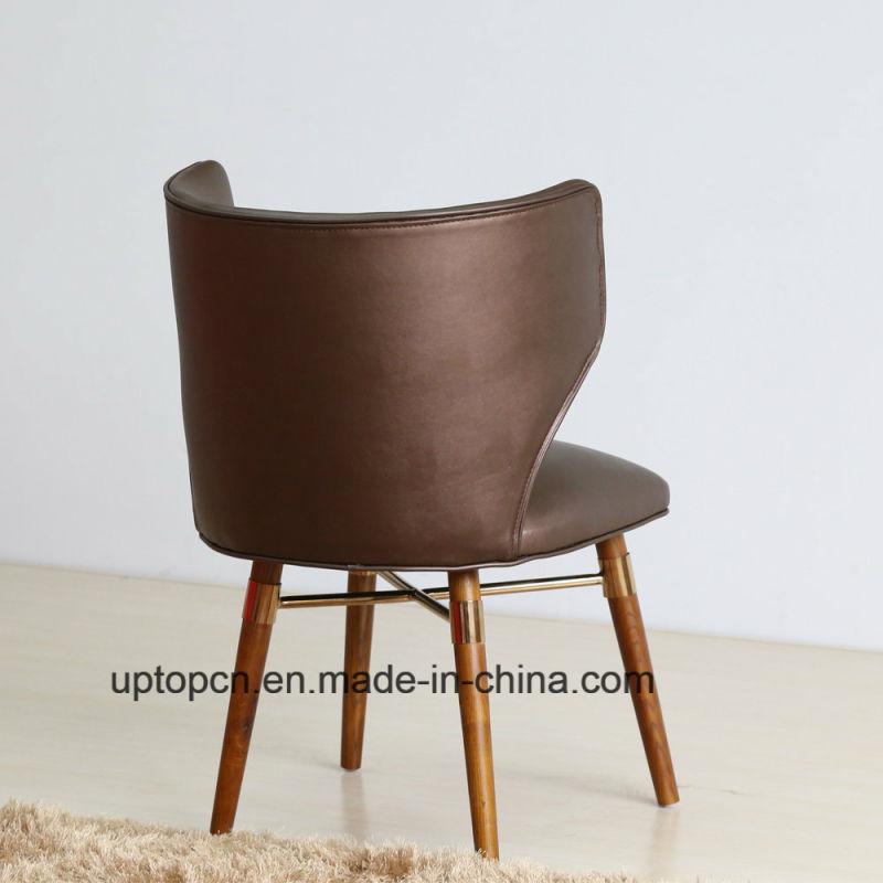 (SP-HC585) Wholesale Leather Wooden Leg Louis Dining Chair Restaurant