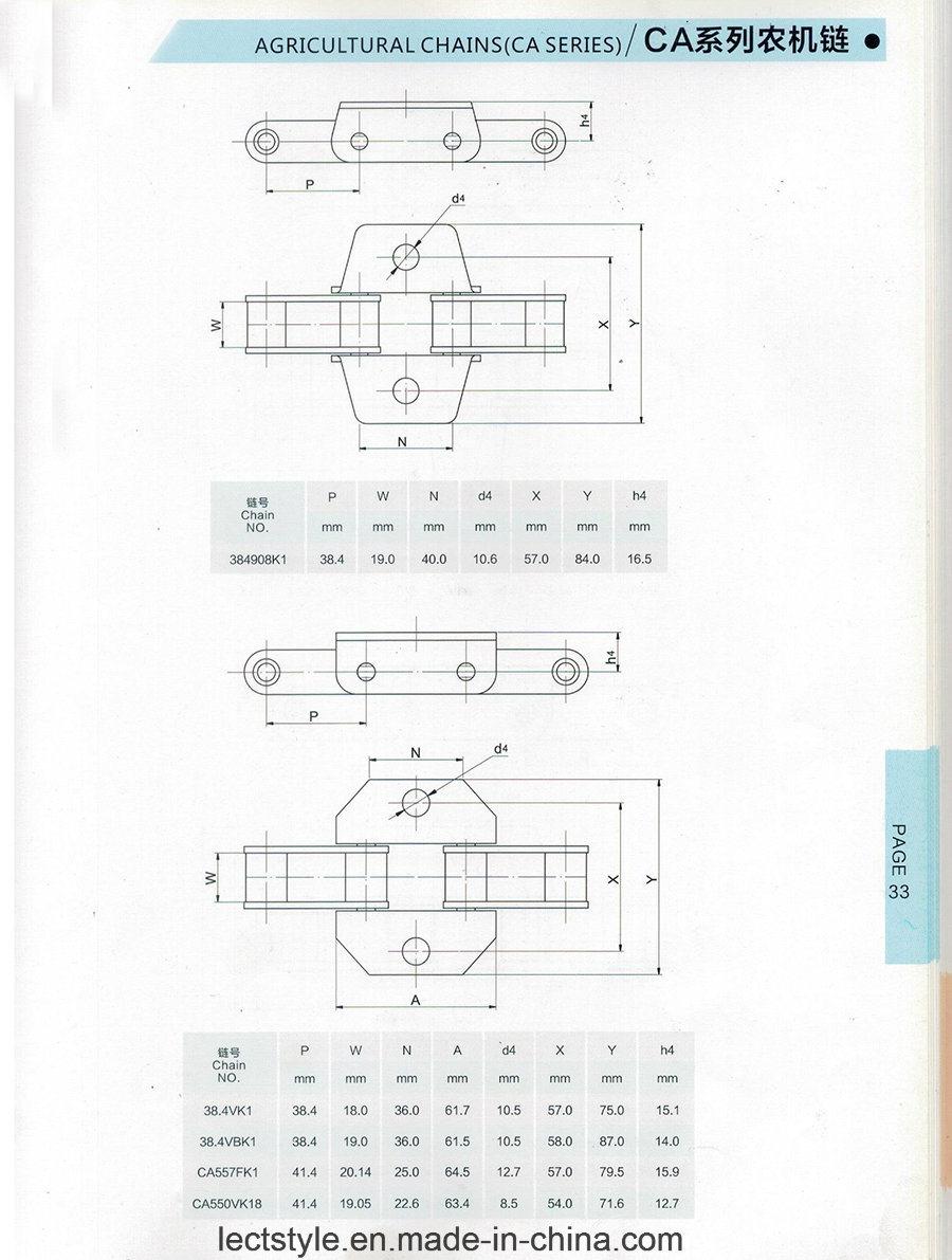Ca557-Fk1 Agricultural Machinery Roller Chain with Ca557A1f1, Ca557f1, Ca557f4, Ca557f3, Ca5507f7,