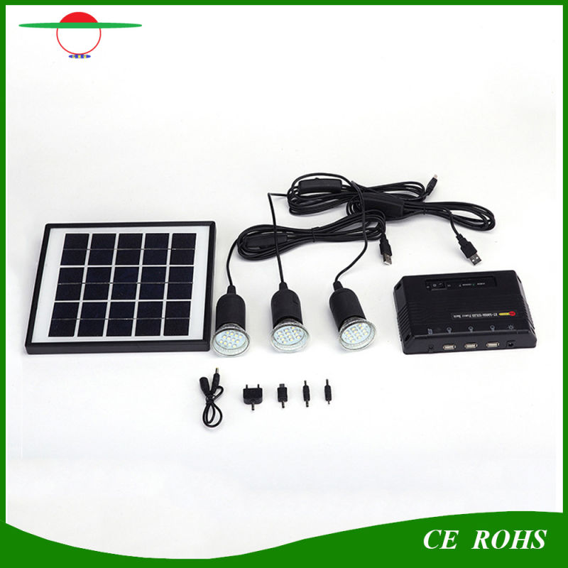 4W Portable Outdoor or Indoor Home Solar Power Lighting System with Three LED Bulbs for Camping Fishing and Others Outdoor Activities