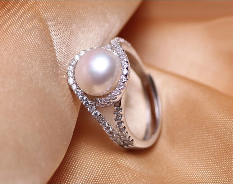 925 Silver Pearl Ring AAA 9-10mm Bread Round Natural Pearl Ring