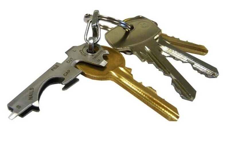 EDC Utility Key Ring Pocket Size Keychain Key Tool 8 in 1 Multitool
