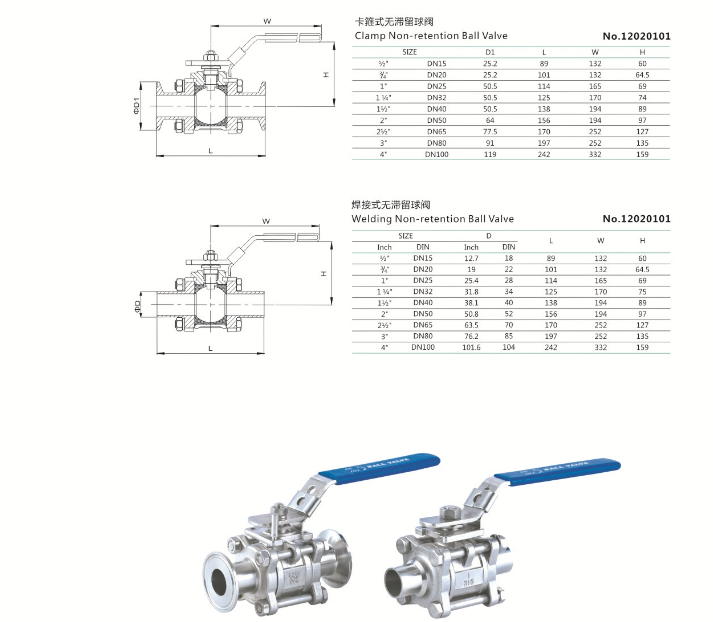 Sanitary Stainless Steel Encapsulated Ball Valves