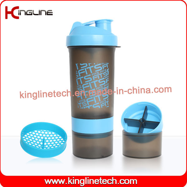 600ml shaker bottle, with powder and pills container(KL-7004)