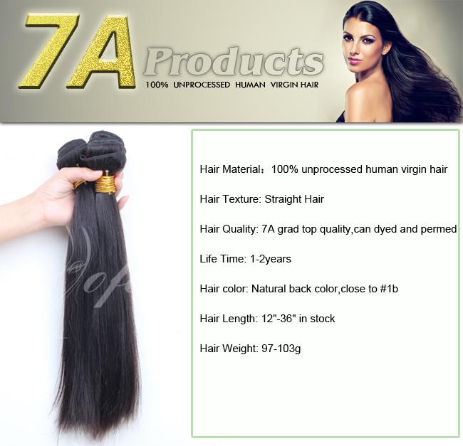 7A Grade Human Straight Hair Virgin Remy Hair Weft