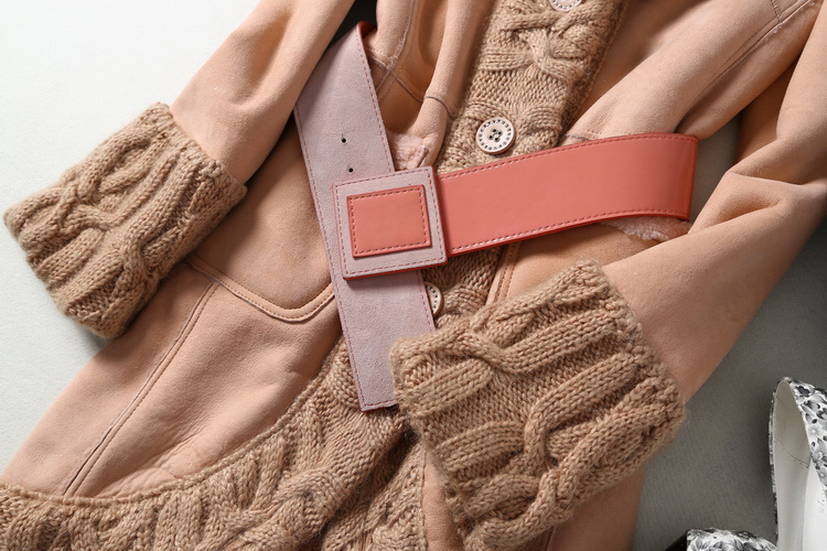 New Genuine Leather and Fur Coat with Knitting