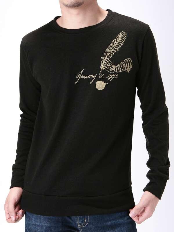 Custom Printing Logo on Chest Cotton Fashion Men Longsleeve T-Shirt