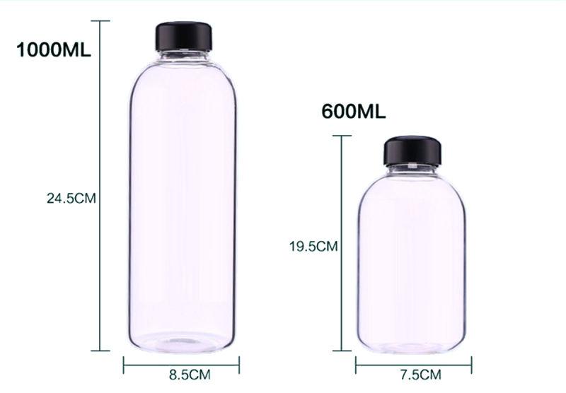 1000ml/600ml Fashion Design Heat Resitance Portable Glass Bottle for Gifts