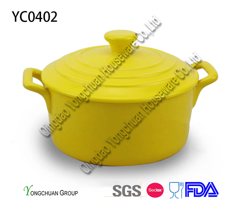 Promotional Ceramic White Pots with Lid