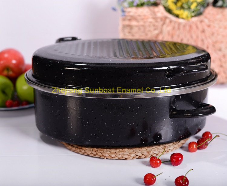 Heavy-Duty Enamel Oval Roaster/Turkey Roaser/Chicken Roaster for Cooking