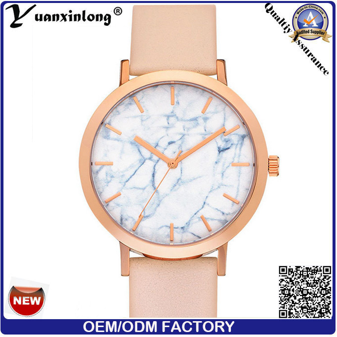 Yxl-044 Newest Hot Sale Marble Stone Face Watch Good Quality Leather Vogue Wrist Watch Lady Quartz Stainless Steel Back Watches Women Men