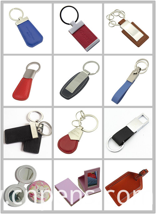 Promotion Printing Stamp Logo Metal Key Ring Leather Keychain (F3028B)