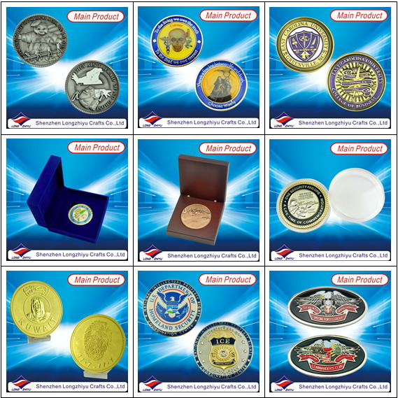 Souvenir Custom Coins Metal Zinc Alloy Material with Soft Enamel, Cheap Fashion Casting Novelty Silver Coins Medal Badges with Your Own Design Logo
