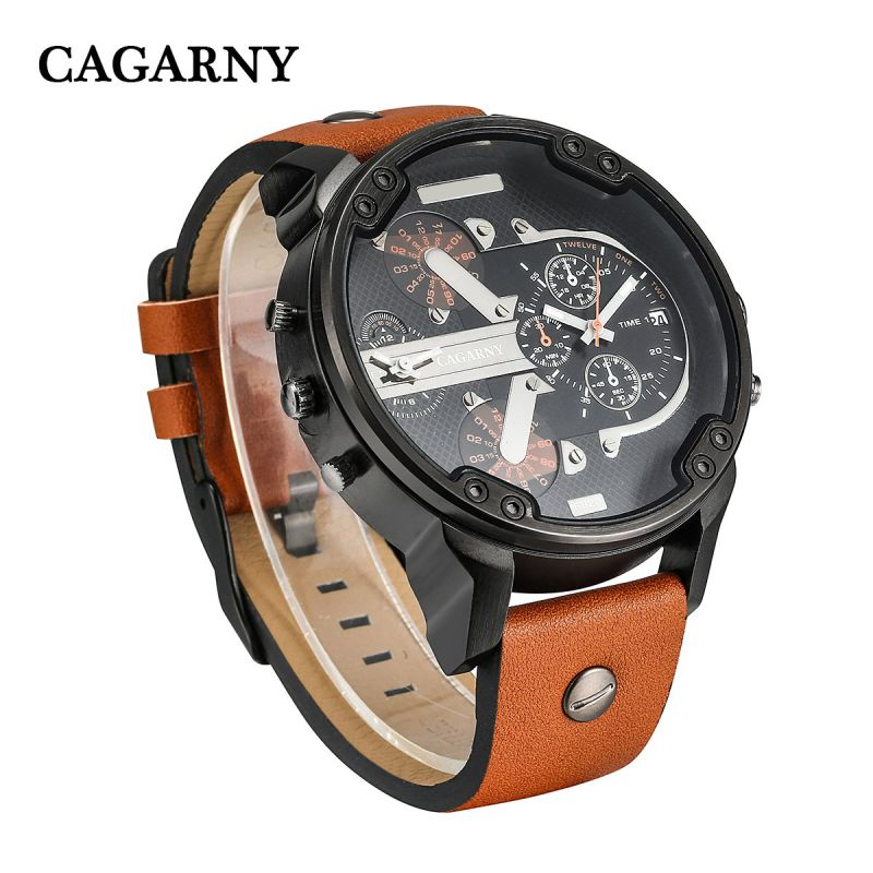 Cagarny 6820 Black Case with Leather Strap Brown and Black Strap Quartz Movement