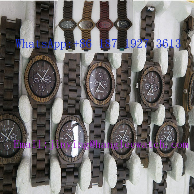 OEM Calendar Zebra Wooden Watch Pure Natural Wooden Watch