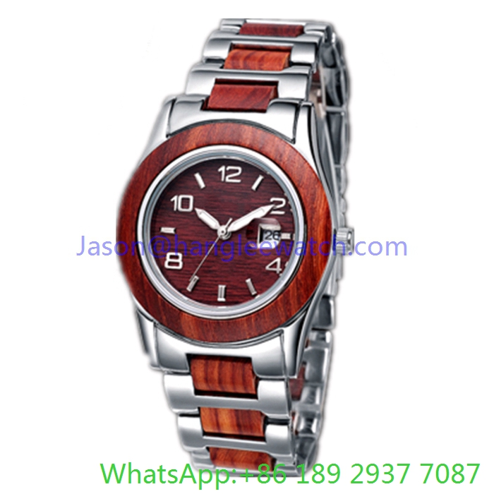 Top-Quality Stainless Steel and Wooden Quoartz Watch for Man Ja- 15055