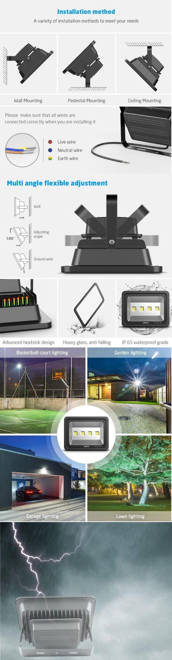 China Manufacturer SMD Outdoor Waterproof LED Spotlight Lamp with 2 Warranty (100-500W lighting)