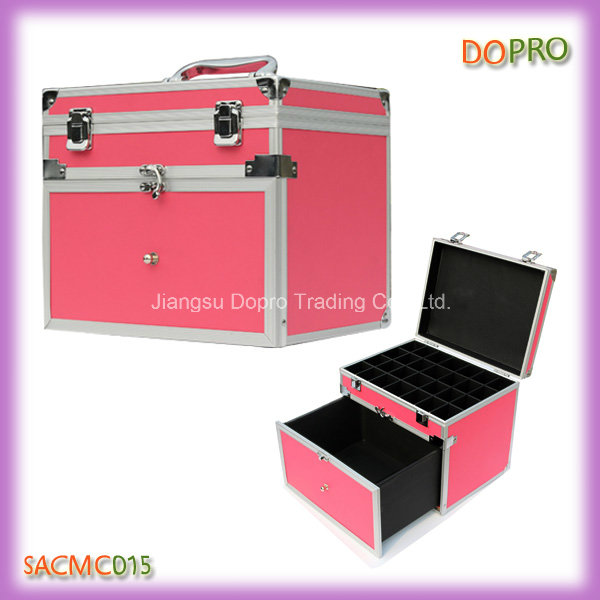 Professional Pink Portable Nail Art Tool Box with Dividers (SACMC015)