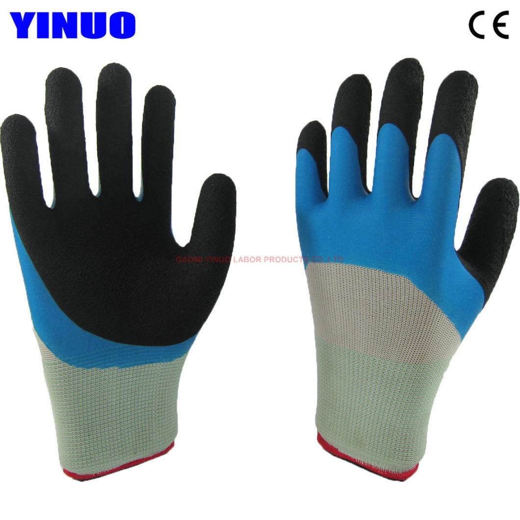 Double Colors Latex Foam Coated Industrial Working Safety Gloves