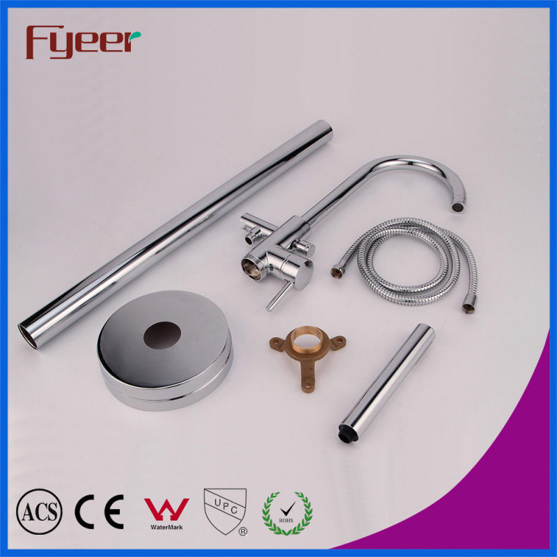 Fyeer Brass Floor Standing Bathtub Faucet Bath Shower Set
