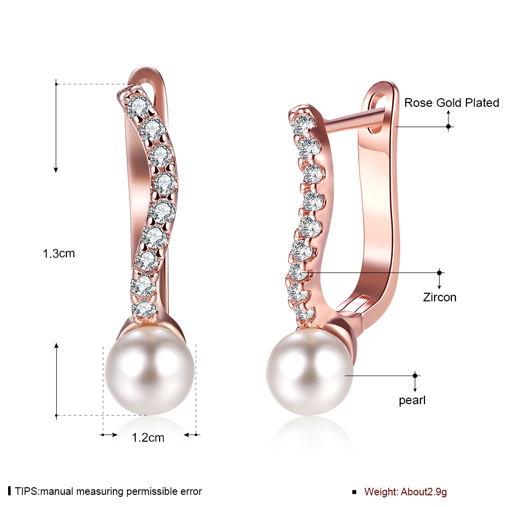 Rose Gold Zircon Eardrop Popular Pearl Earring