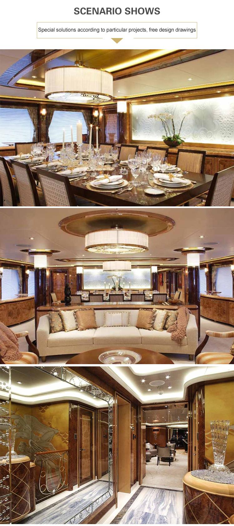 Iluminação de restaurante personalizada minimalista moderna para luz de teto alta redonda de cristal de ouro