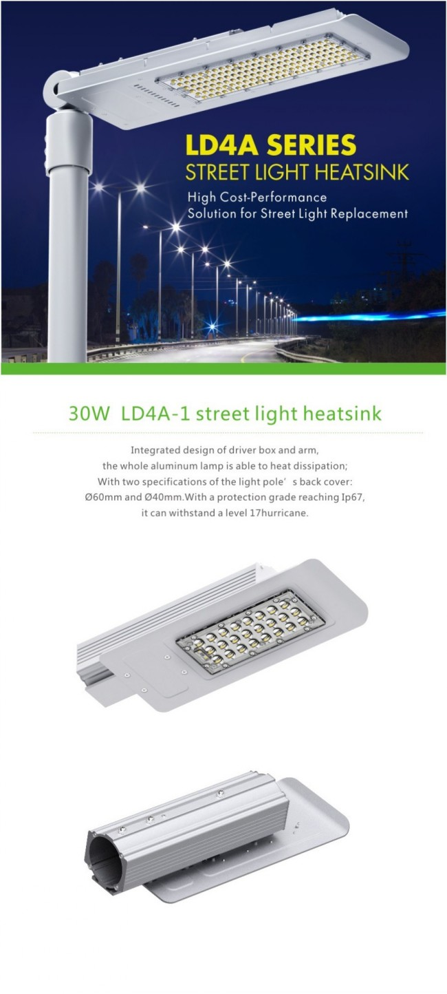 5 Year Warranty 60 Watt LED Street Lamp 6000lm Osram Chip Outdoor Aluminum