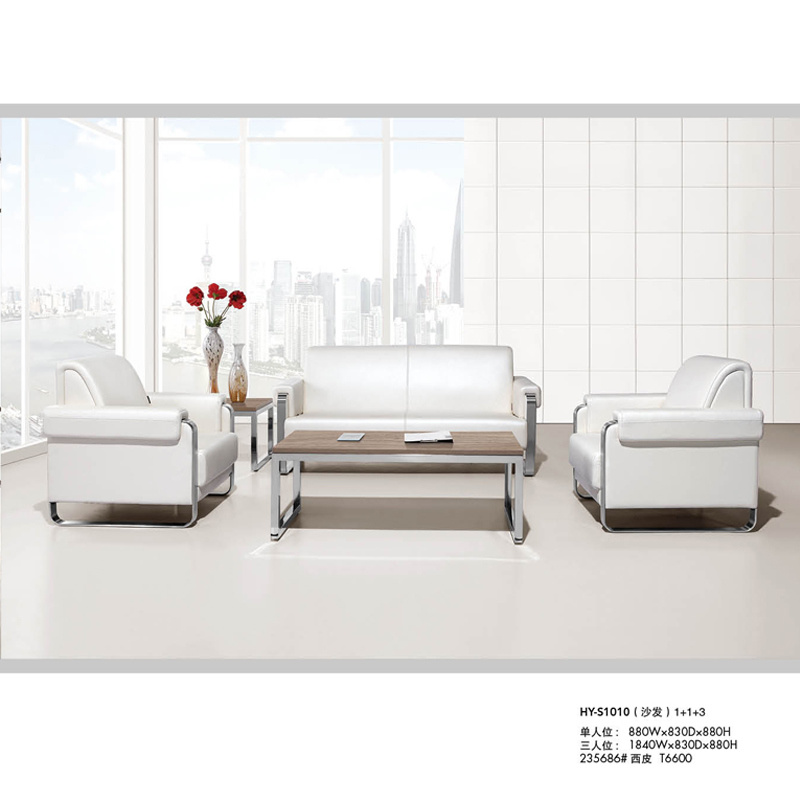 Hot Sale White Leather Sofa Covered with Metal Leg (HY-S1010)