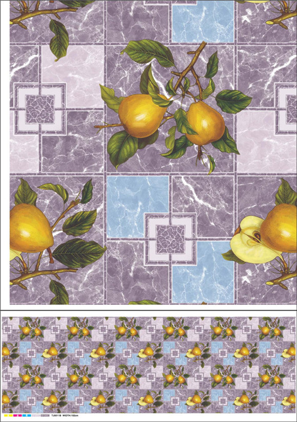 Nonwoven Backing PVC Tablecloth with Vegetable and Fruit Design